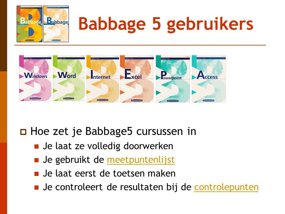 Babbage 5 gebruikers Hoe zet je Babbage5 cursussen in