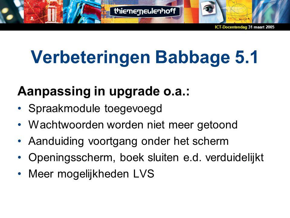 Verbeteringen Babbage 5.1