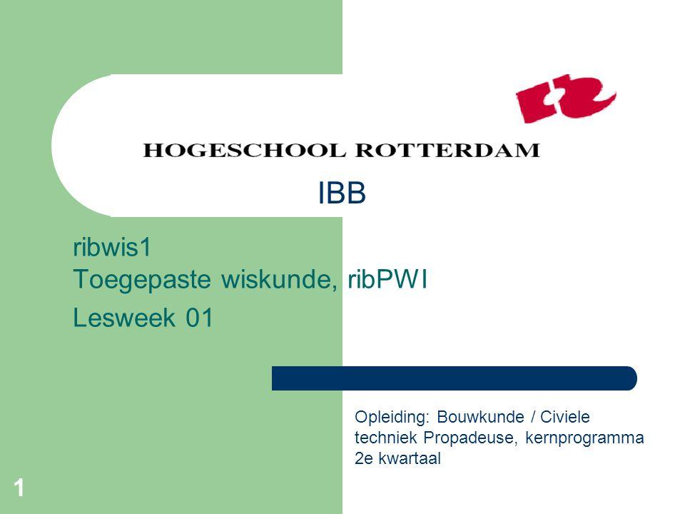 ribwis1 Toegepaste wiskunde, ribPWI Lesweek 01