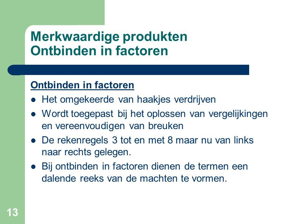 Merkwaardige produkten Ontbinden in factoren
