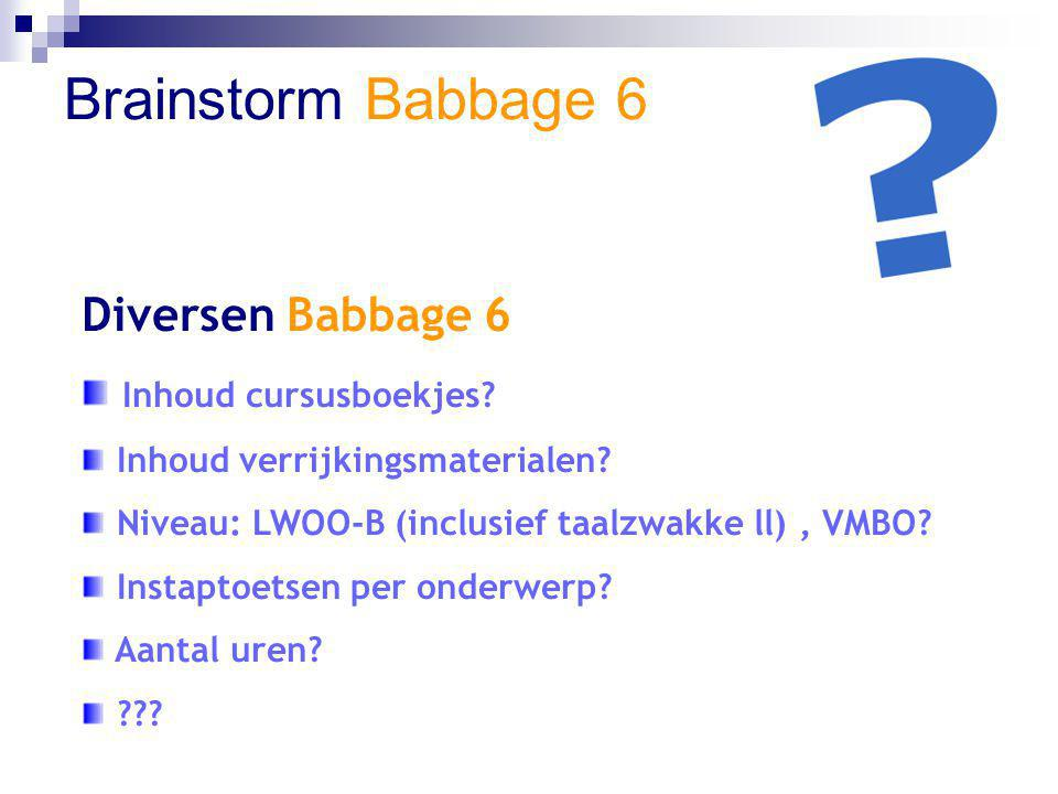 Brainstorm Babbage 6 Diversen Babbage 6 Inhoud cursusboekjes