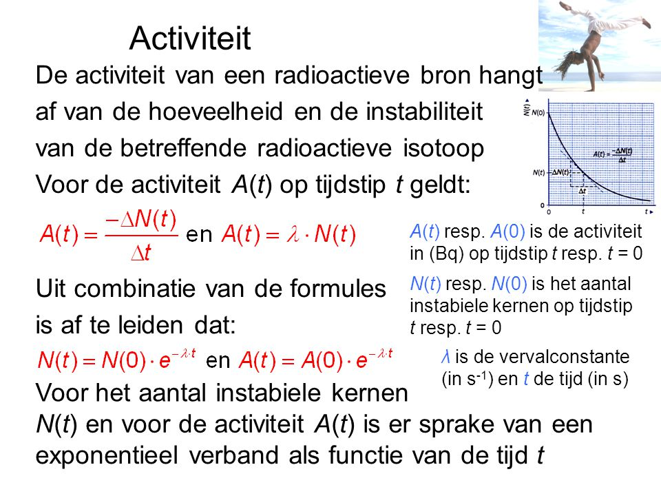 Activiteit De activiteit van een radioactieve bron hangt