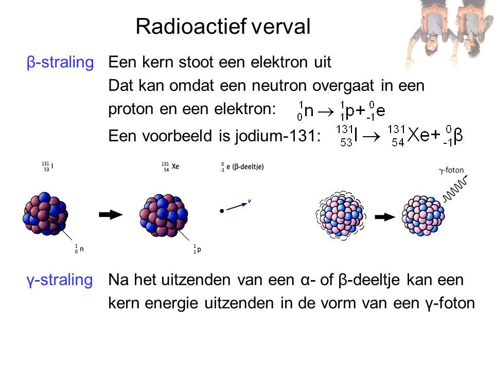 Radioactief verval β-straling Een kern stoot een elektron uit