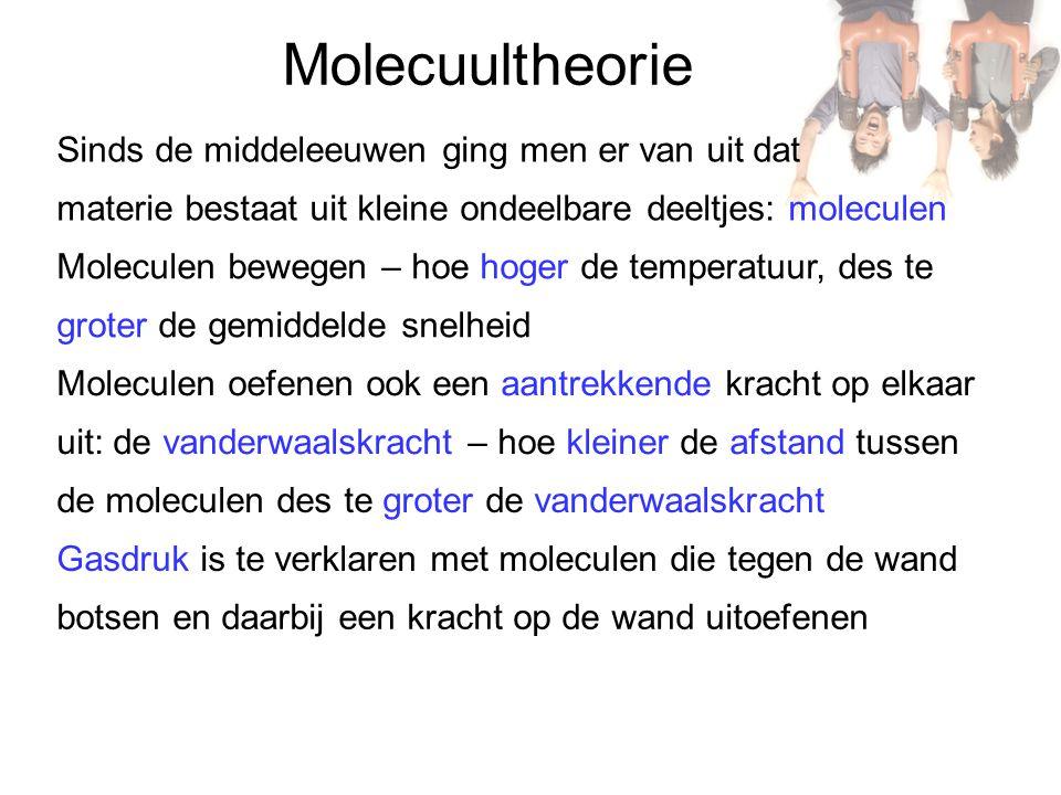 Molecuultheorie Sinds de middeleeuwen ging men er van uit dat