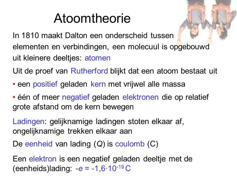 Atoomtheorie In 1810 maakt Dalton een onderscheid tussen