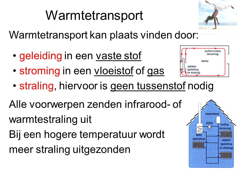 Warmtetransport Warmtetransport kan plaats vinden door: