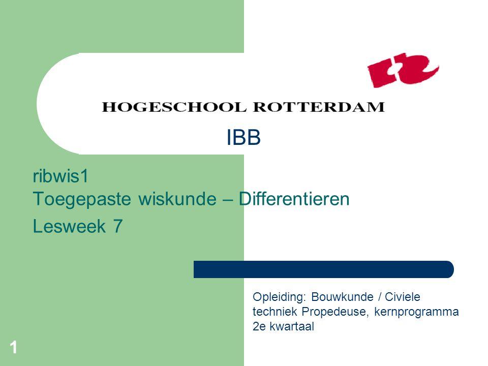 ribwis1 Toegepaste wiskunde – Differentieren Lesweek 7