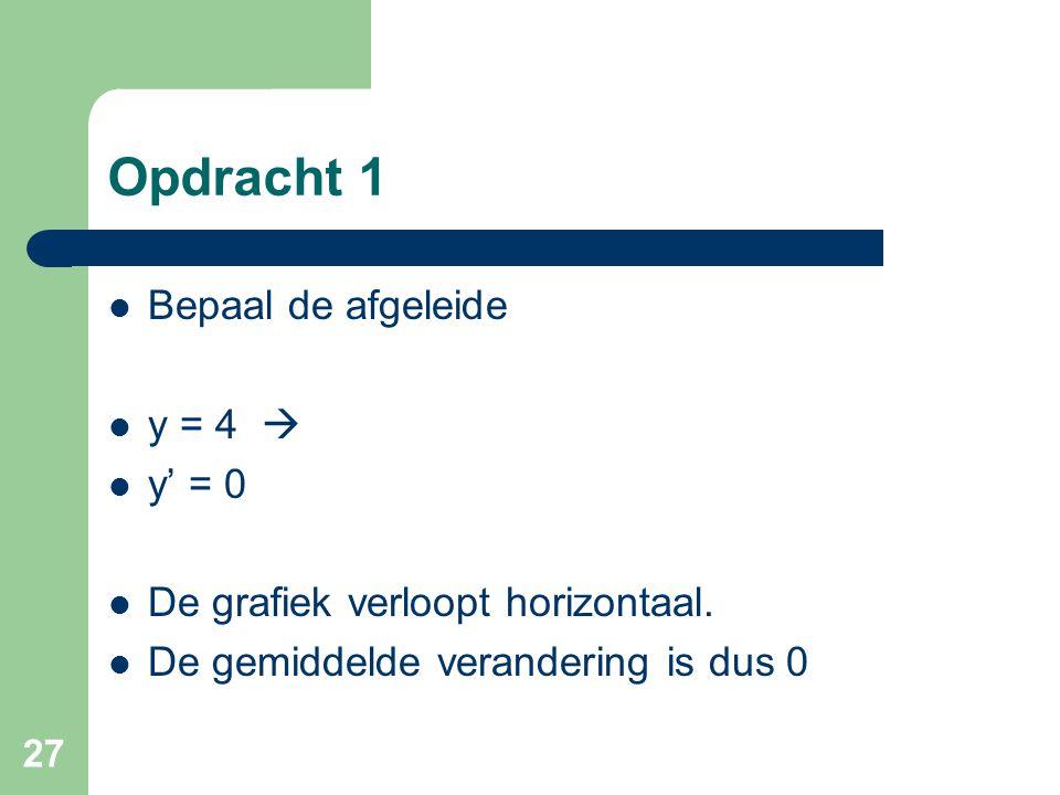 Opdracht 1 Bepaal de afgeleide y = 4  y' = 0