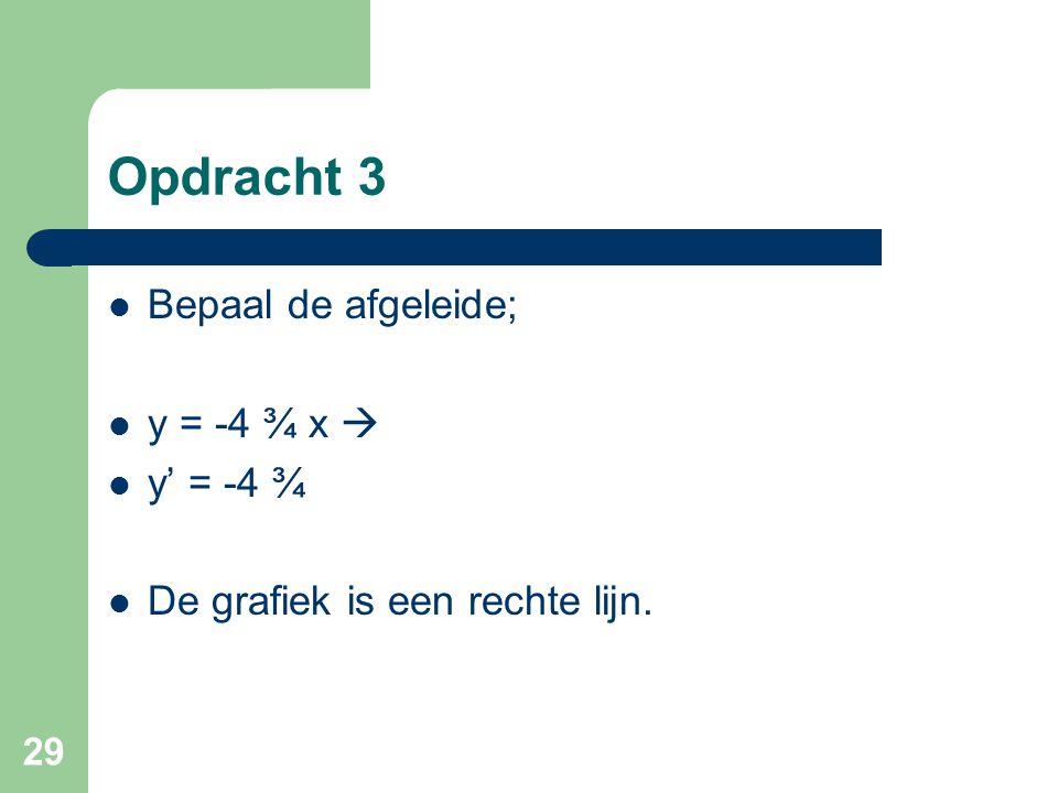 Opdracht 3 Bepaal de afgeleide; y = -4 ¾ x  y' = -4 ¾