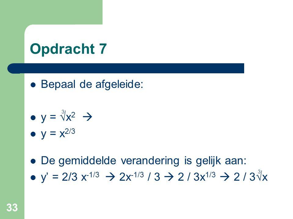 Opdracht 7 Bepaal de afgeleide: y = √x2  y = x2/3