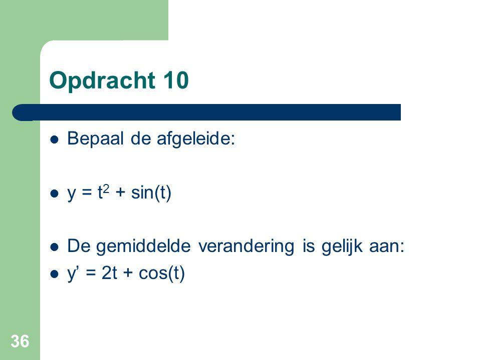 Opdracht 10 Bepaal de afgeleide: y = t2 + sin(t)