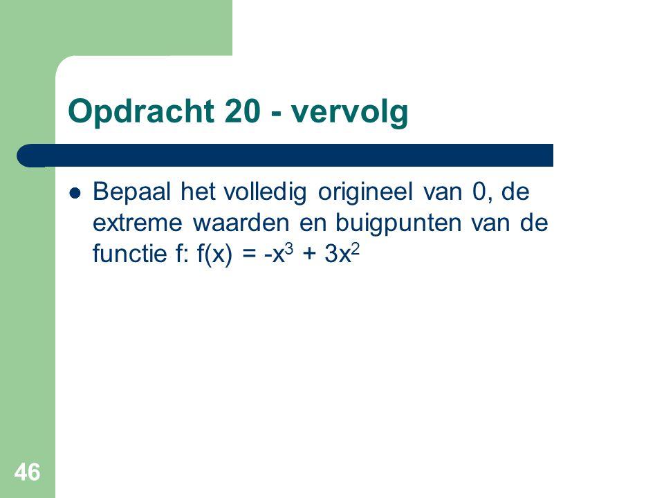 Opdracht 20 - vervolg Bepaal het volledig origineel van 0, de extreme waarden en buigpunten van de functie f: f(x) = -x3 + 3x2.