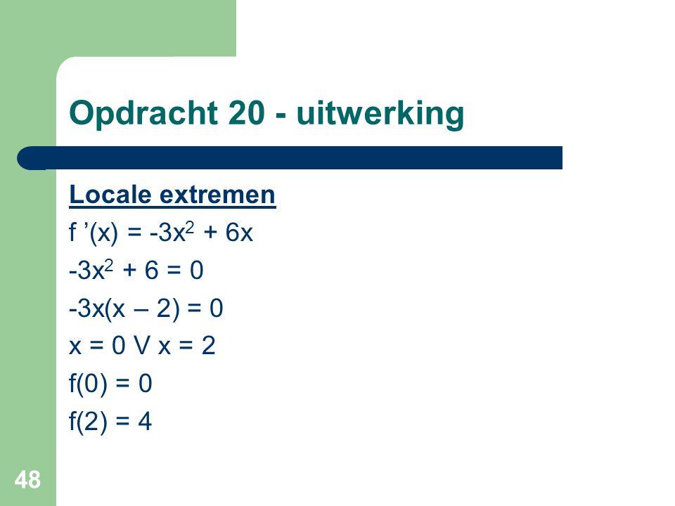 Opdracht 20 - uitwerking Locale extremen f '(x) = -3x2 + 6x