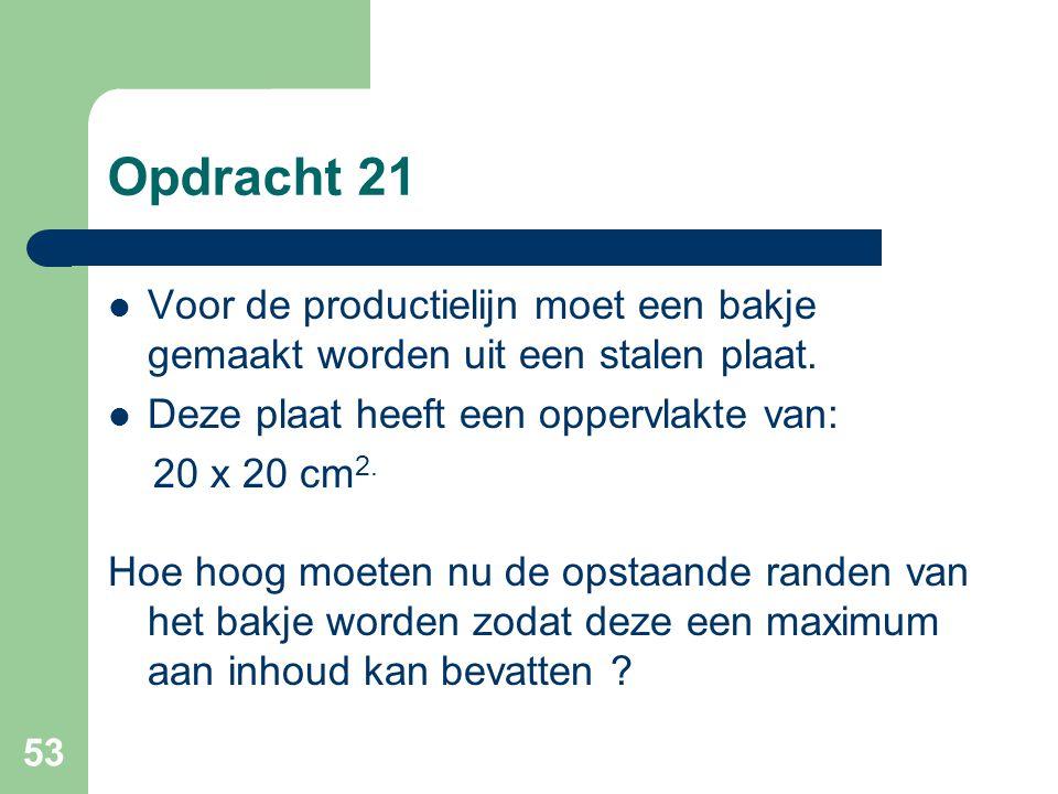 Opdracht 21 Voor de productielijn moet een bakje gemaakt worden uit een stalen plaat. Deze plaat heeft een oppervlakte van: