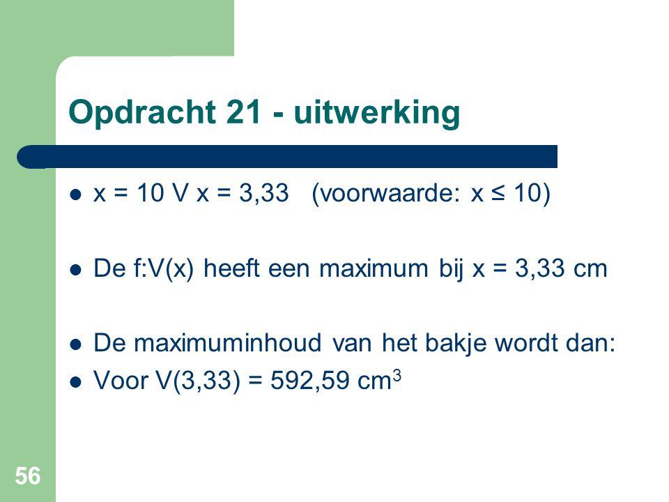 Opdracht 21 - uitwerking x = 10 V x = 3,33 (voorwaarde: x ≤ 10)