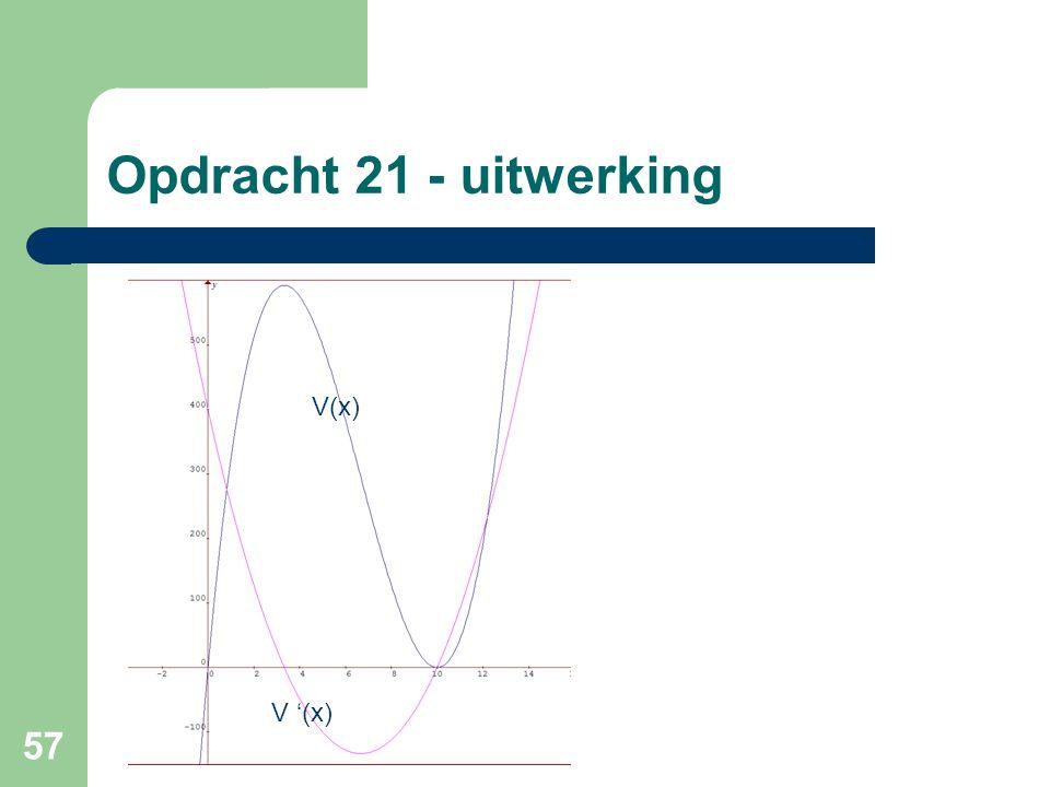 Opdracht 21 - uitwerking V(x) V '(x)
