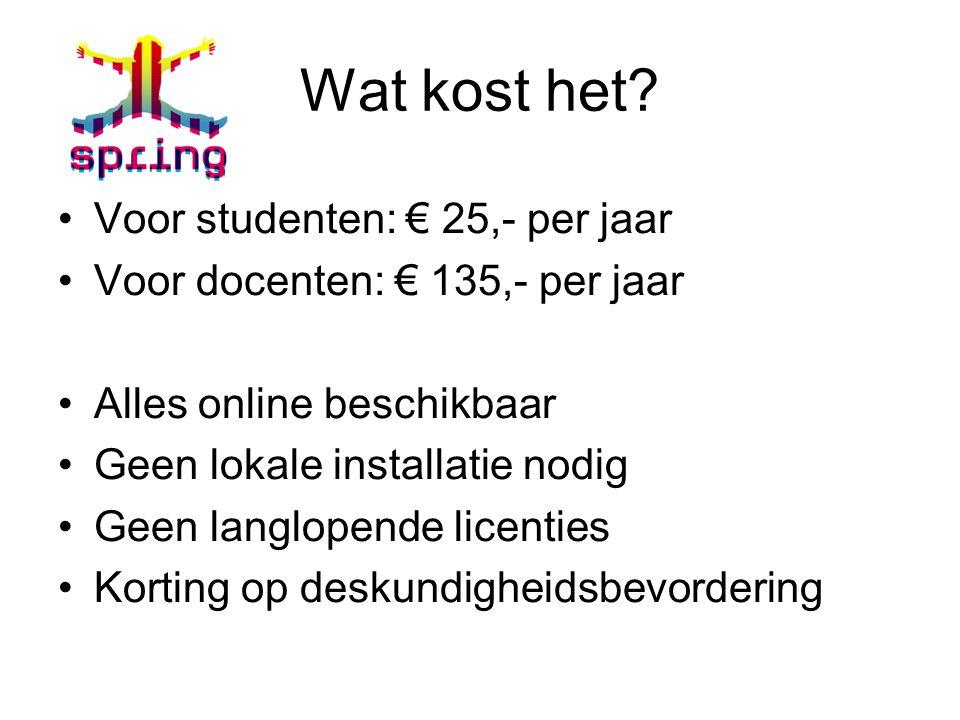 Wat kost het Voor studenten: € 25,- per jaar
