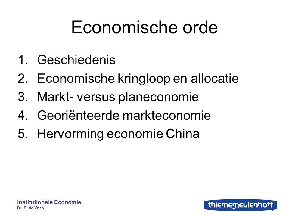 Economische orde Geschiedenis Economische kringloop en allocatie