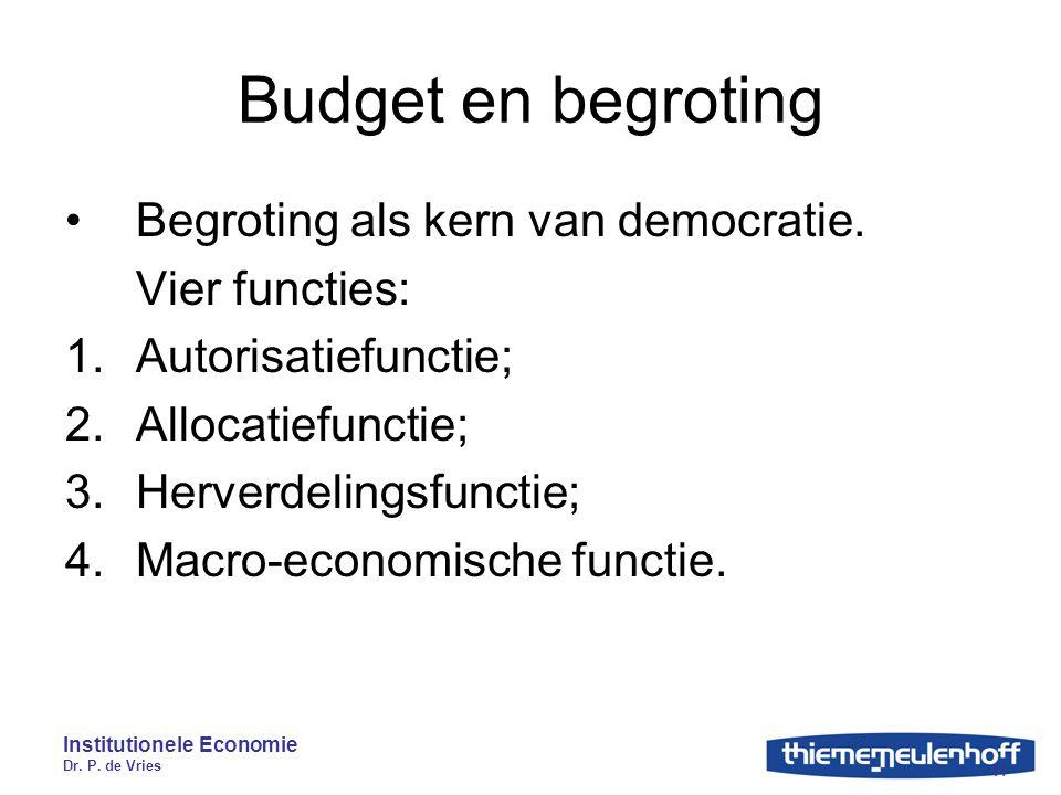 Budget en begroting Begroting als kern van democratie. Vier functies: