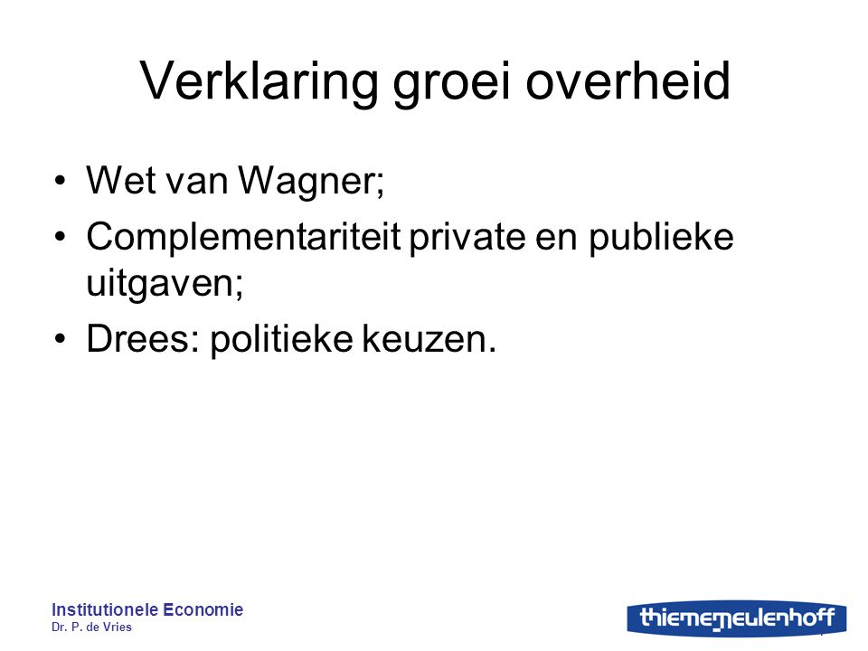 Verklaring groei overheid