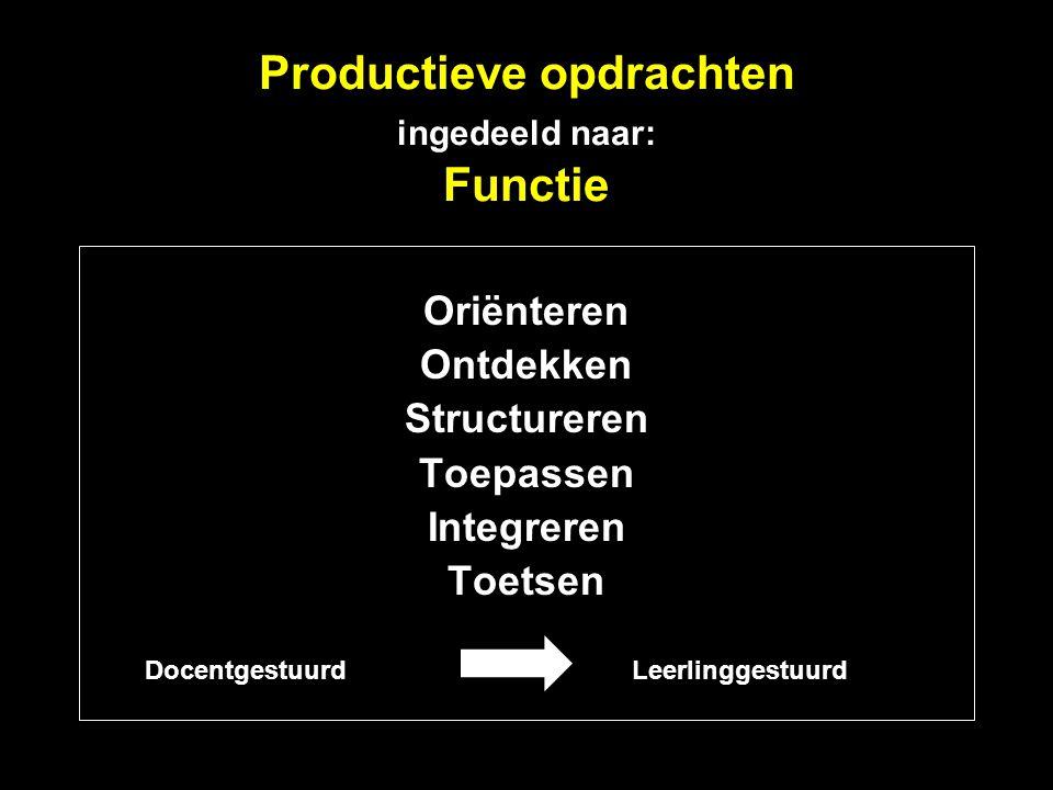Productieve opdrachten ingedeeld naar: Functie
