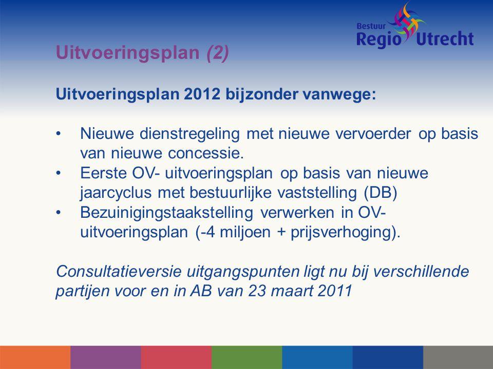 Uitvoeringsplan (2) Uitvoeringsplan 2012 bijzonder vanwege: