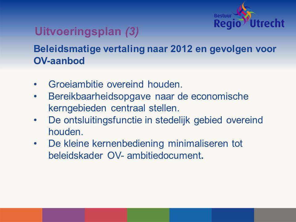 Uitvoeringsplan (3) Beleidsmatige vertaling naar 2012 en gevolgen voor OV-aanbod. Groeiambitie overeind houden.