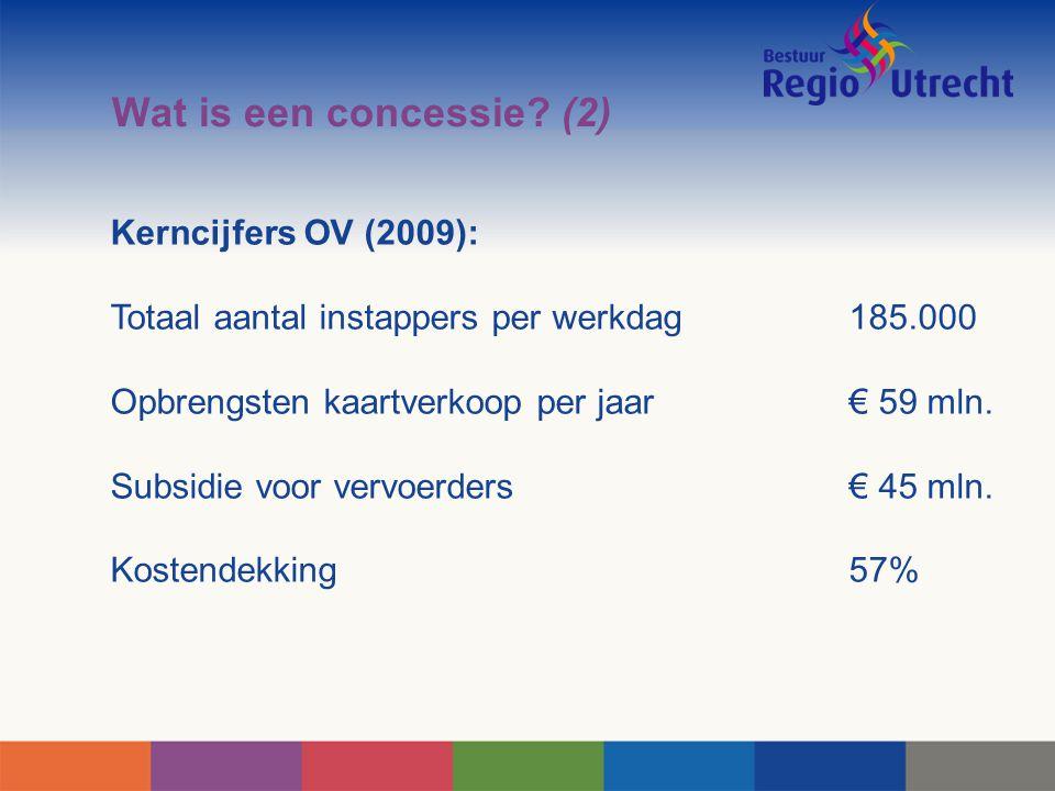 Wat is een concessie (2) Kerncijfers OV (2009):