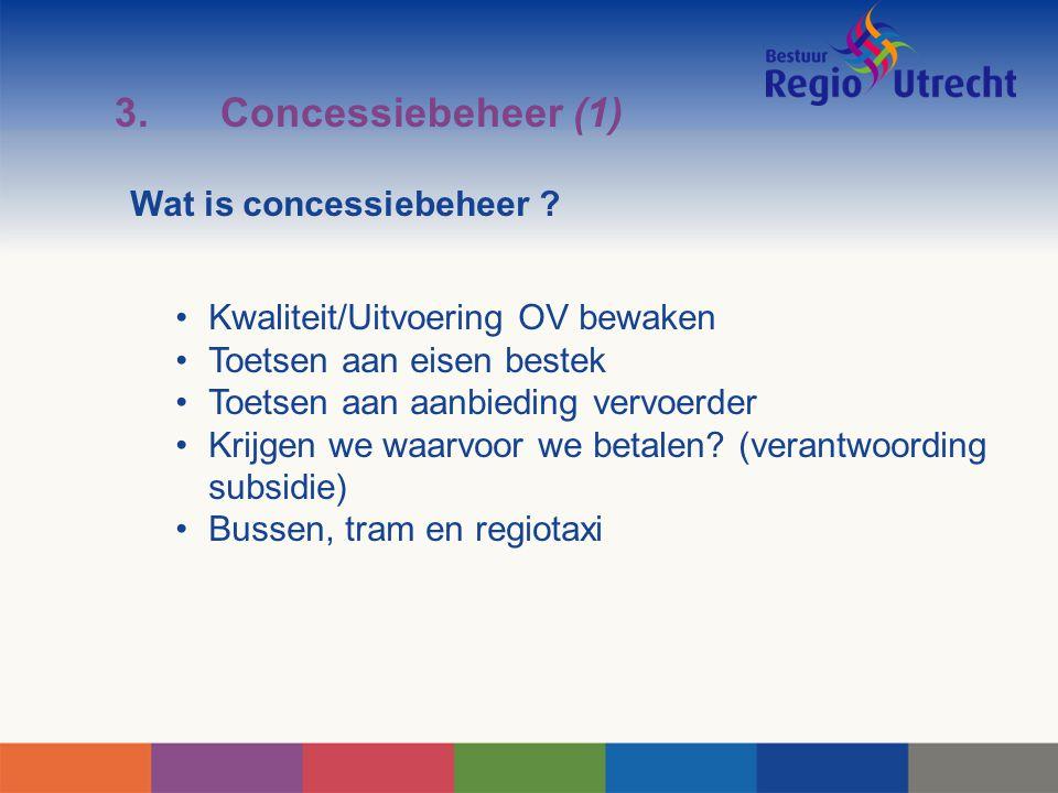 3. Concessiebeheer (1) Kwaliteit/Uitvoering OV bewaken