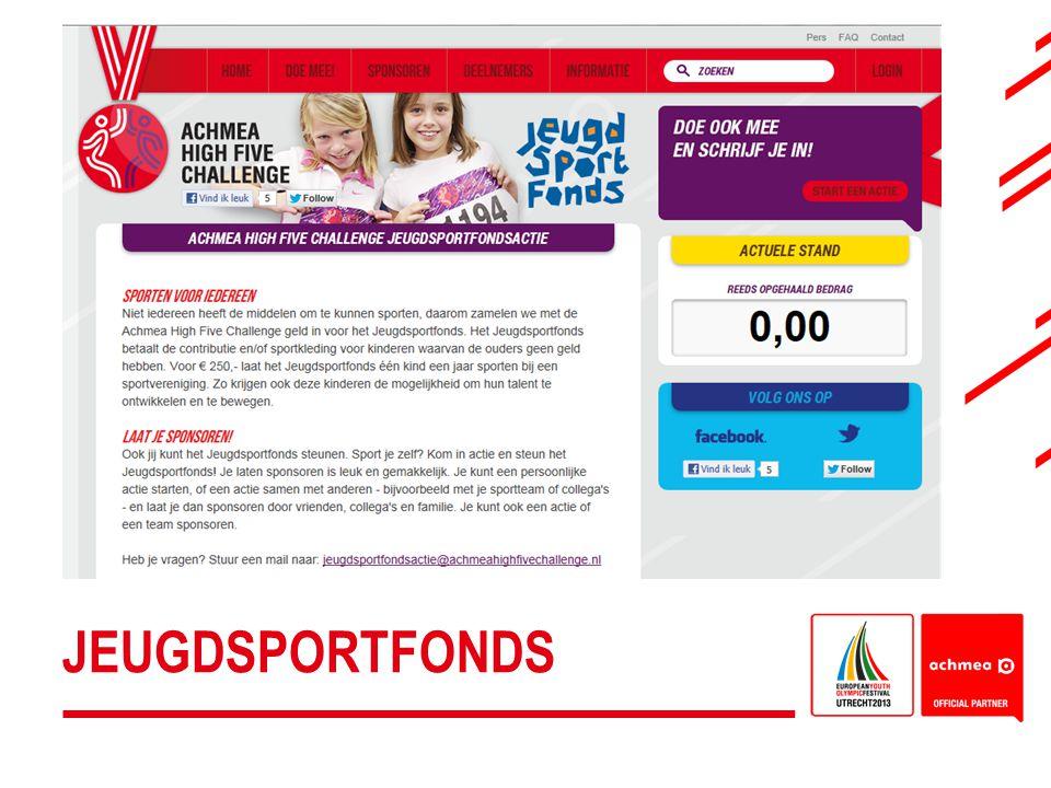 Jeugdsportfonds: medewerkers van Achmea en gemeente Utrecht worden opgeroepen acties te organiseren om geld op te halen voor het Jeugdsportfonds
