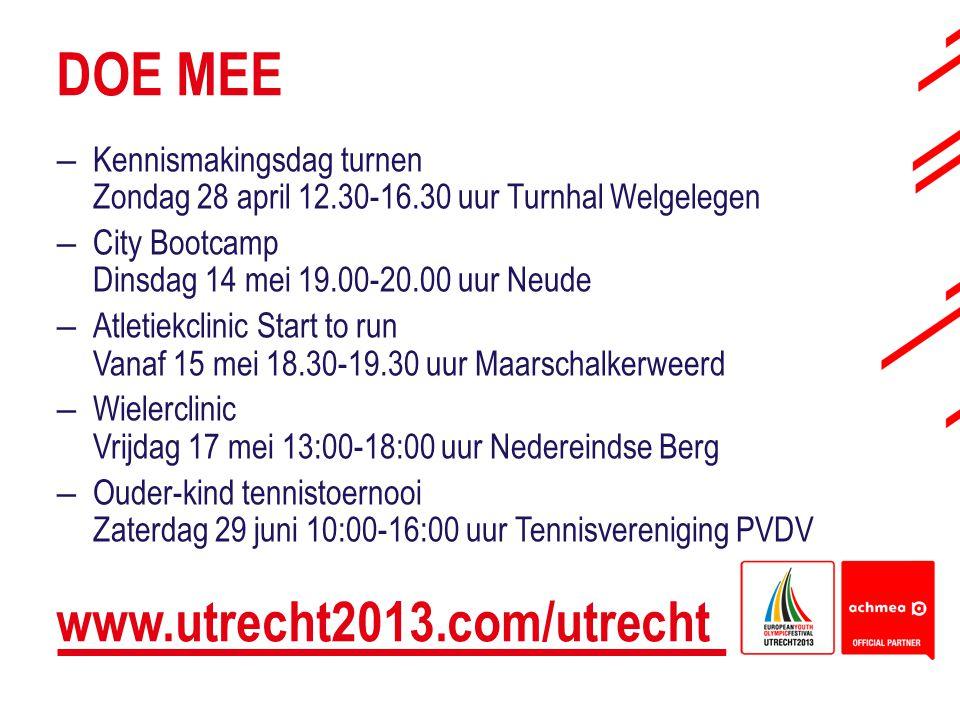 DOE MEE www.utrecht2013.com/utrecht