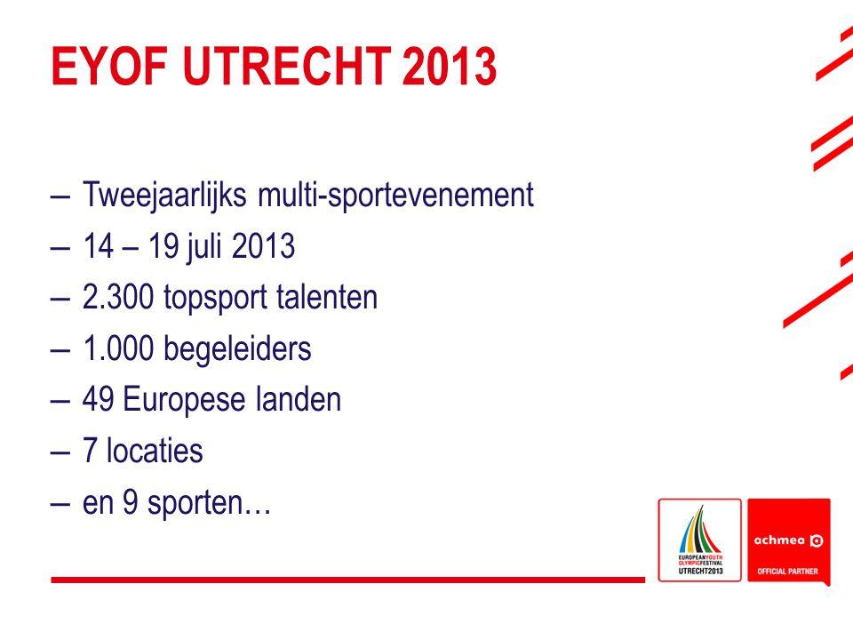 EYOF UTRECHT 2013 Tweejaarlijks multi-sportevenement 14 – 19 juli 2013