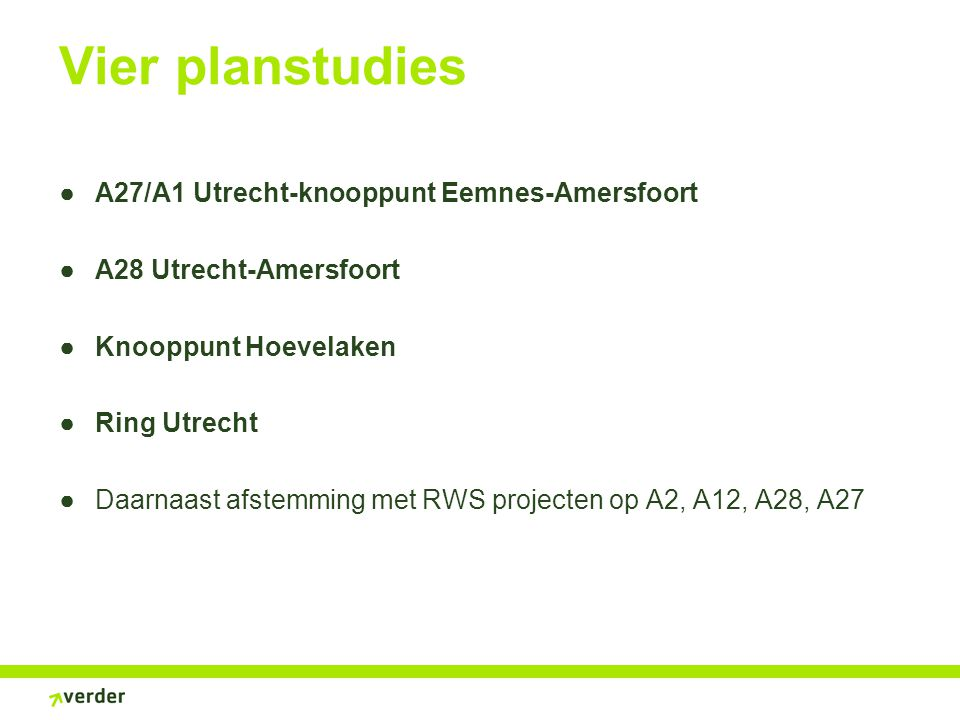 Vier planstudies A27/A1 Utrecht-knooppunt Eemnes-Amersfoort