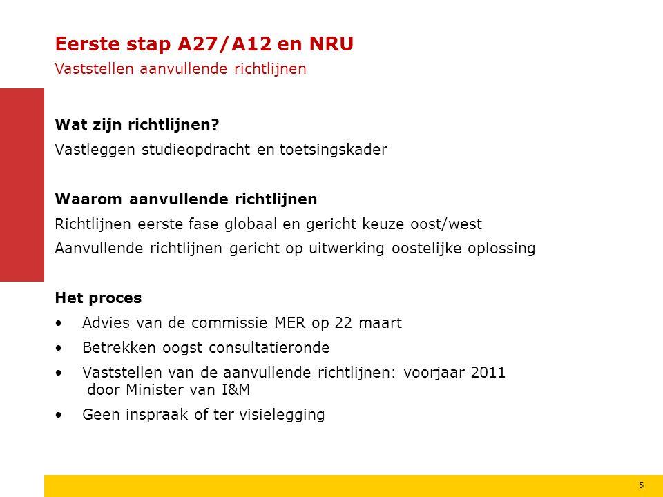Eerste stap A27/A12 en NRU Vaststellen aanvullende richtlijnen