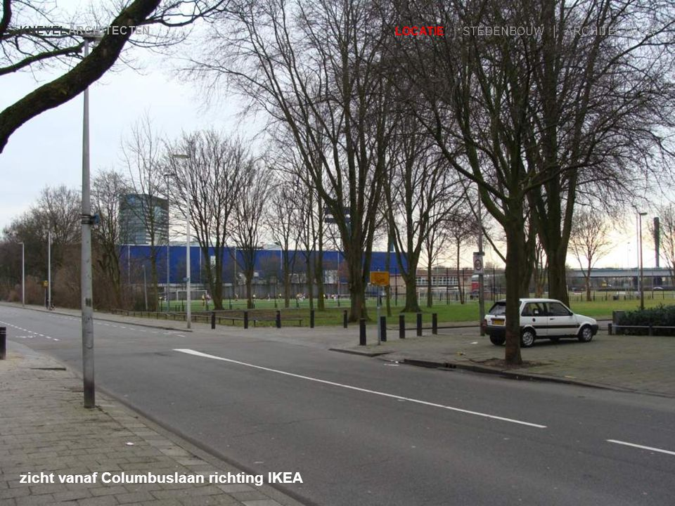 zicht vanaf Columbuslaan richting IKEA