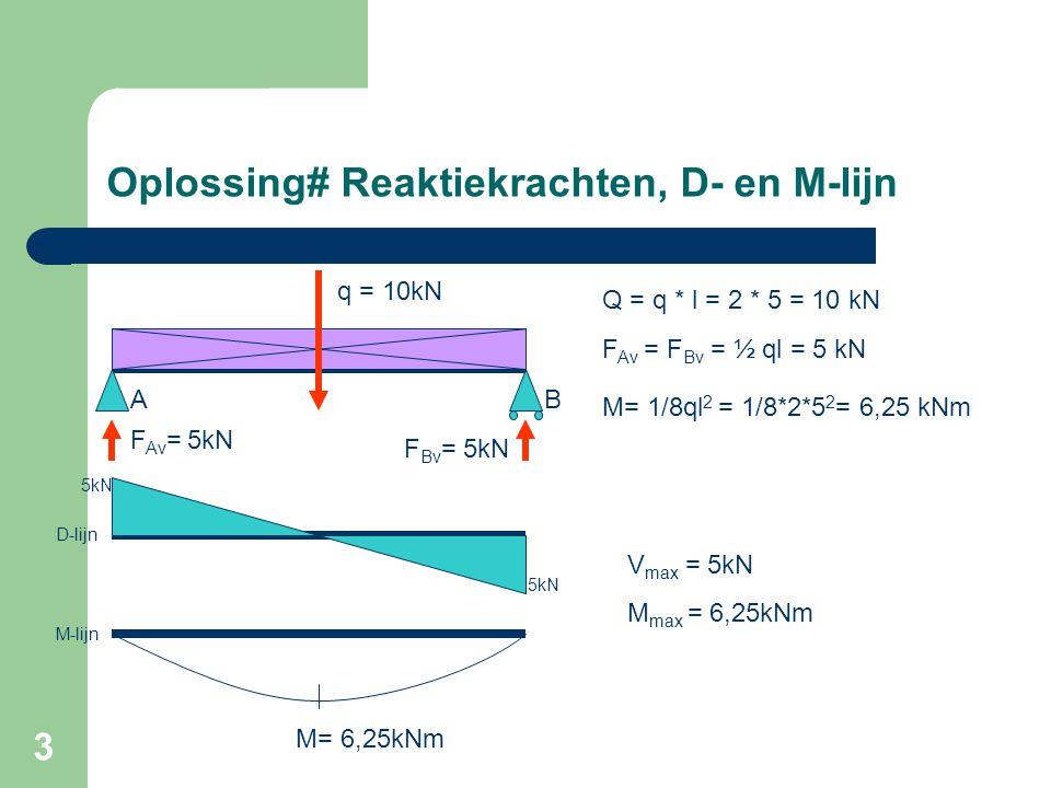 Oplossing# Reaktiekrachten, D- en M-lijn