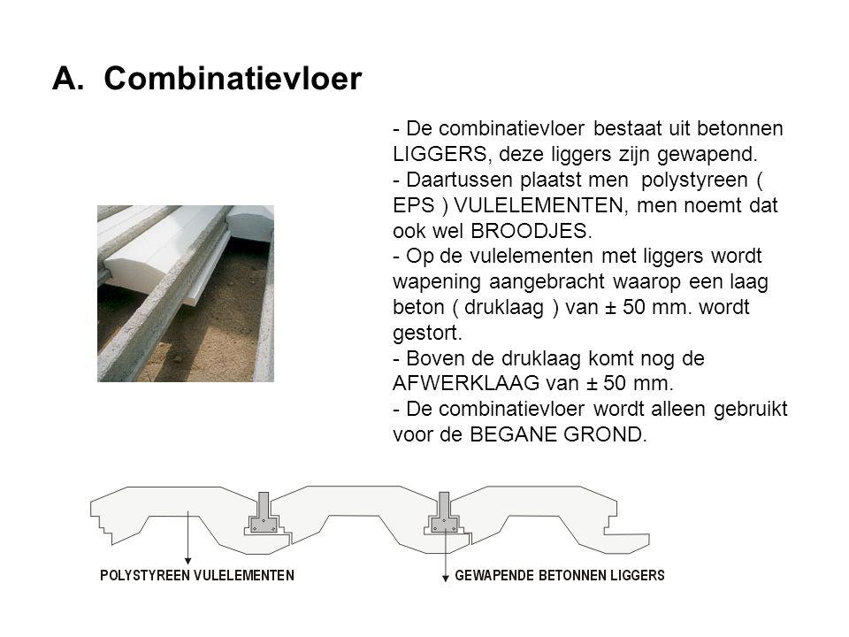 A. Combinatievloer - De combinatievloer bestaat uit betonnen LIGGERS, deze liggers zijn gewapend.