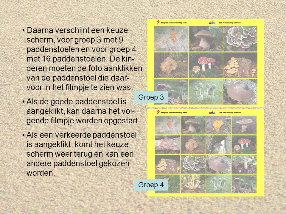 Daarna verschijnt een keuze- scherm, voor groep 3 met 9 paddenstoelen en voor groep 4 met 16 paddenstoelen. De kin- deren moeten de foto aanklikken van de paddenstoel die daar- voor in het filmpje te zien was.