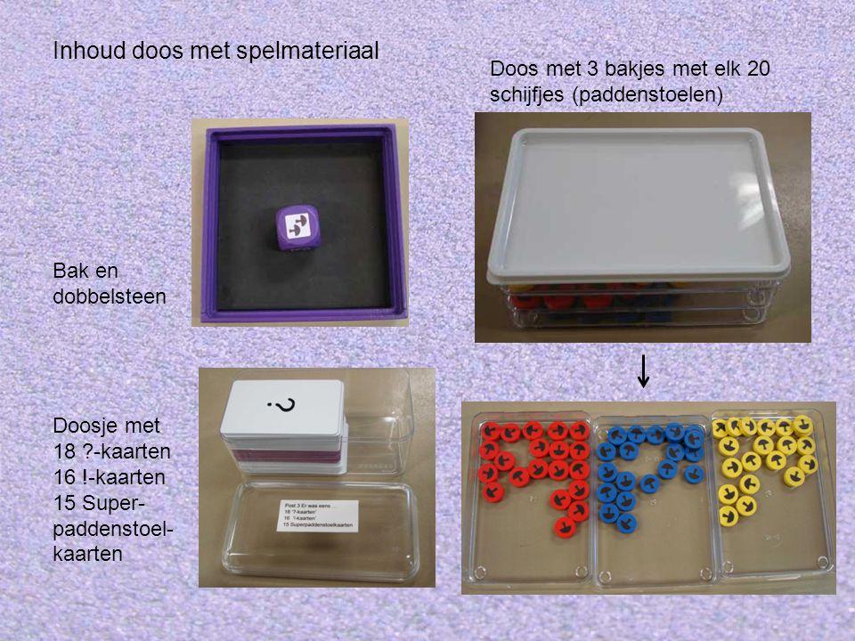 Inhoud doos met spelmateriaal
