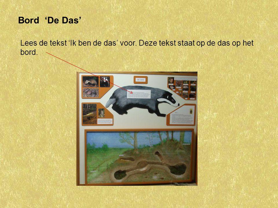 Bord 'De Das' Lees de tekst 'Ik ben de das' voor. Deze tekst staat op de das op het bord.