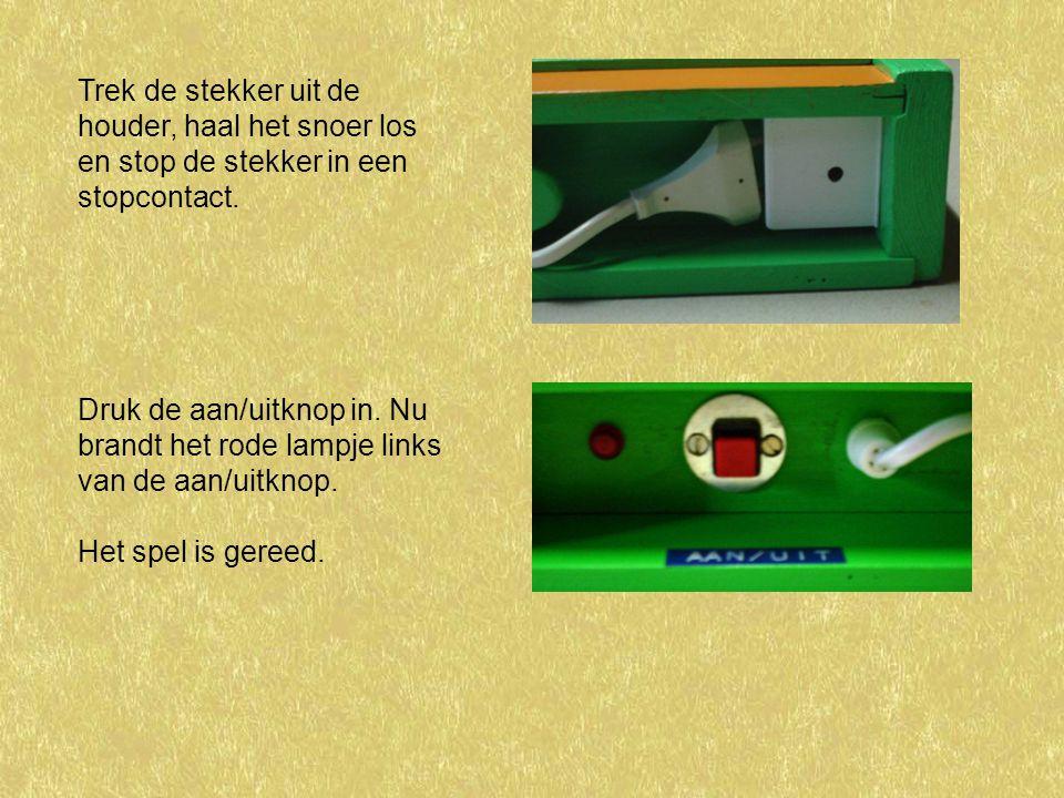 Trek de stekker uit de houder, haal het snoer los en stop de stekker in een stopcontact.
