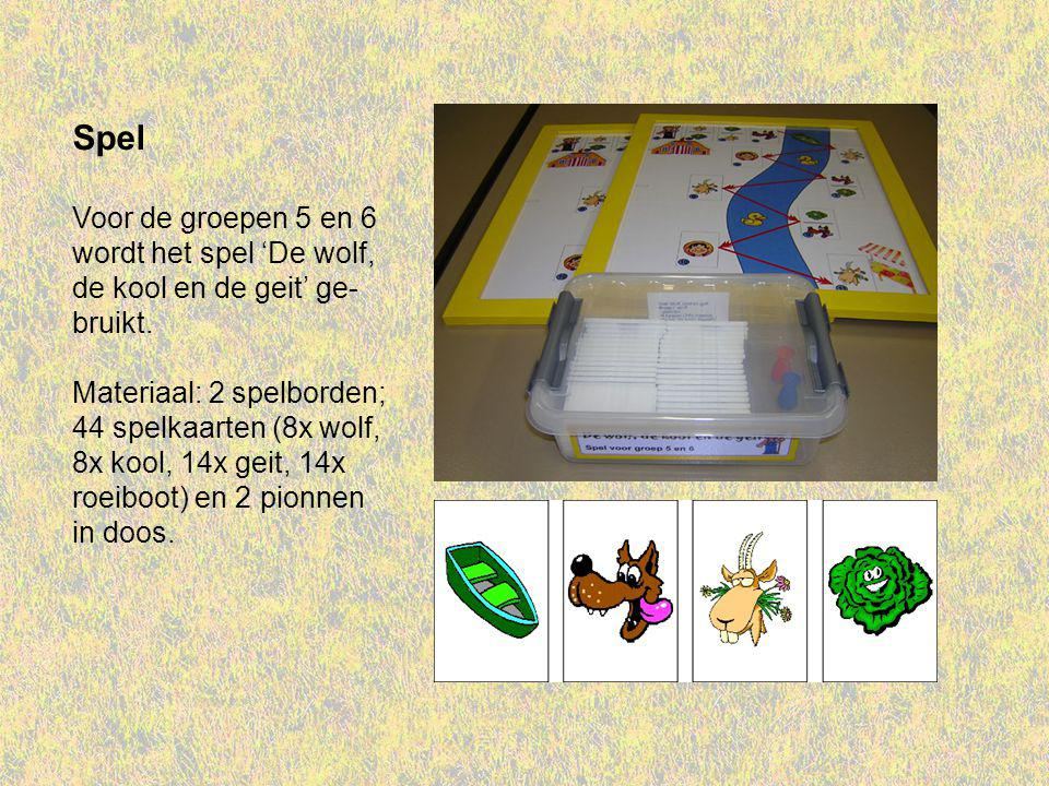 Spel Voor de groepen 5 en 6 wordt het spel 'De wolf, de kool en de geit' ge- bruikt.