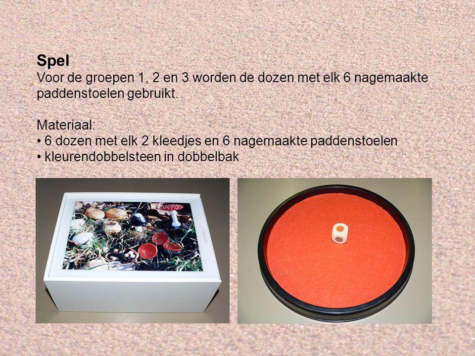 Spel Voor de groepen 1, 2 en 3 worden de dozen met elk 6 nagemaakte paddenstoelen gebruikt. Materiaal: