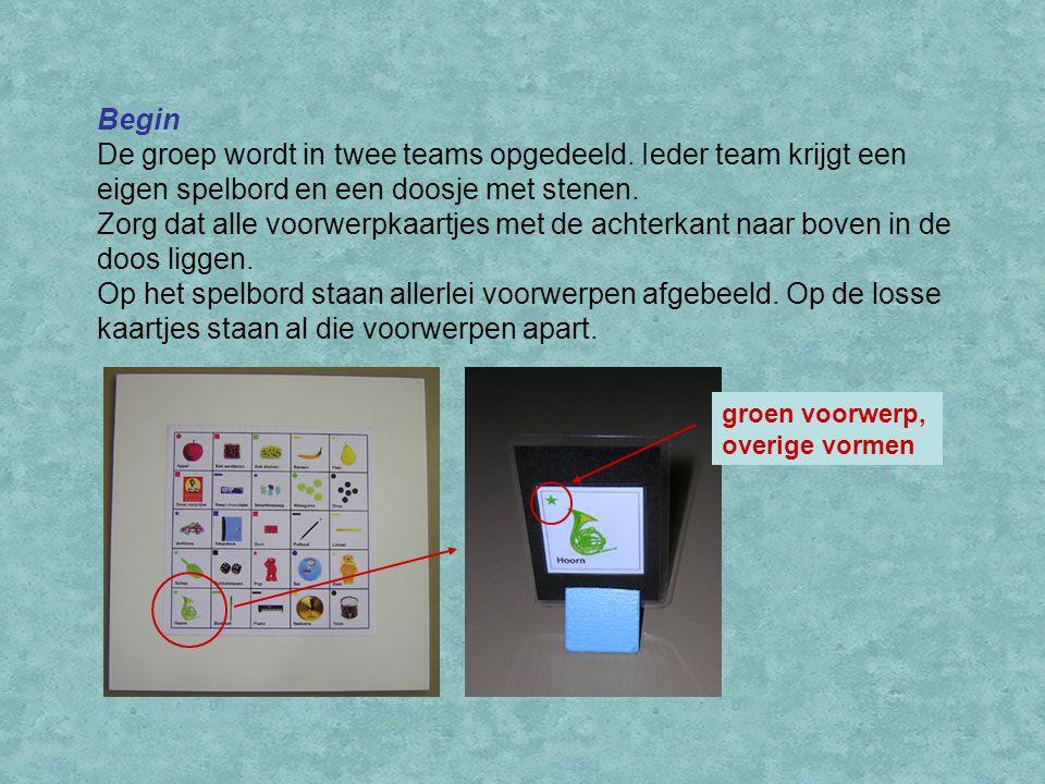Begin De groep wordt in twee teams opgedeeld. Ieder team krijgt een eigen spelbord en een doosje met stenen.