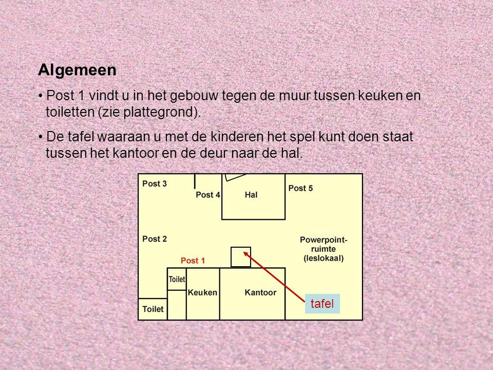 Algemeen Post 1 vindt u in het gebouw tegen de muur tussen keuken en toiletten (zie plattegrond).