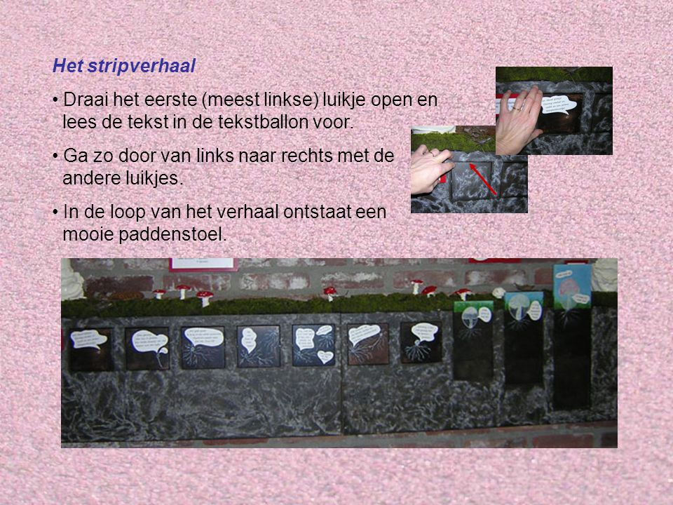 Het stripverhaal Draai het eerste (meest linkse) luikje open en lees de tekst in de tekstballon voor.
