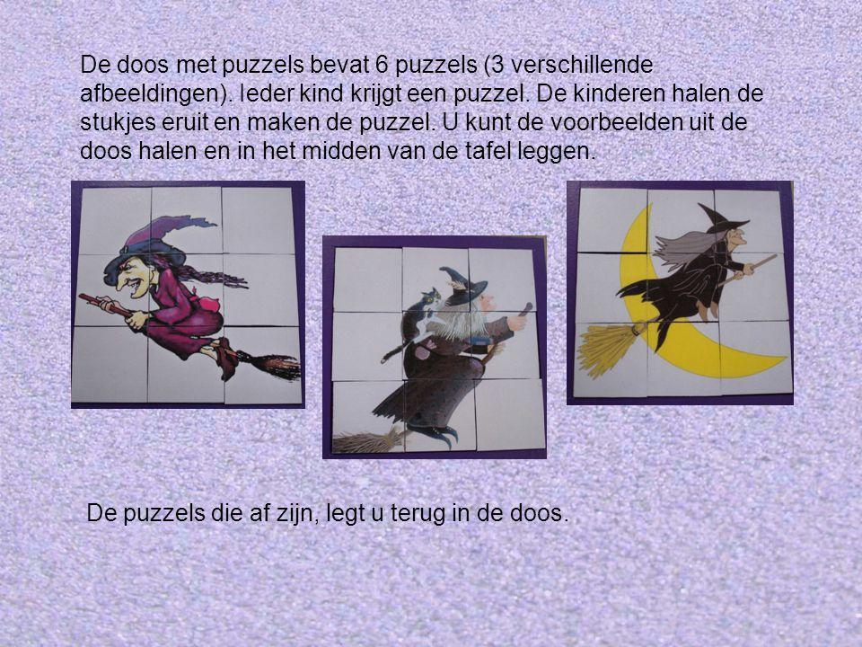 De doos met puzzels bevat 6 puzzels (3 verschillende afbeeldingen)