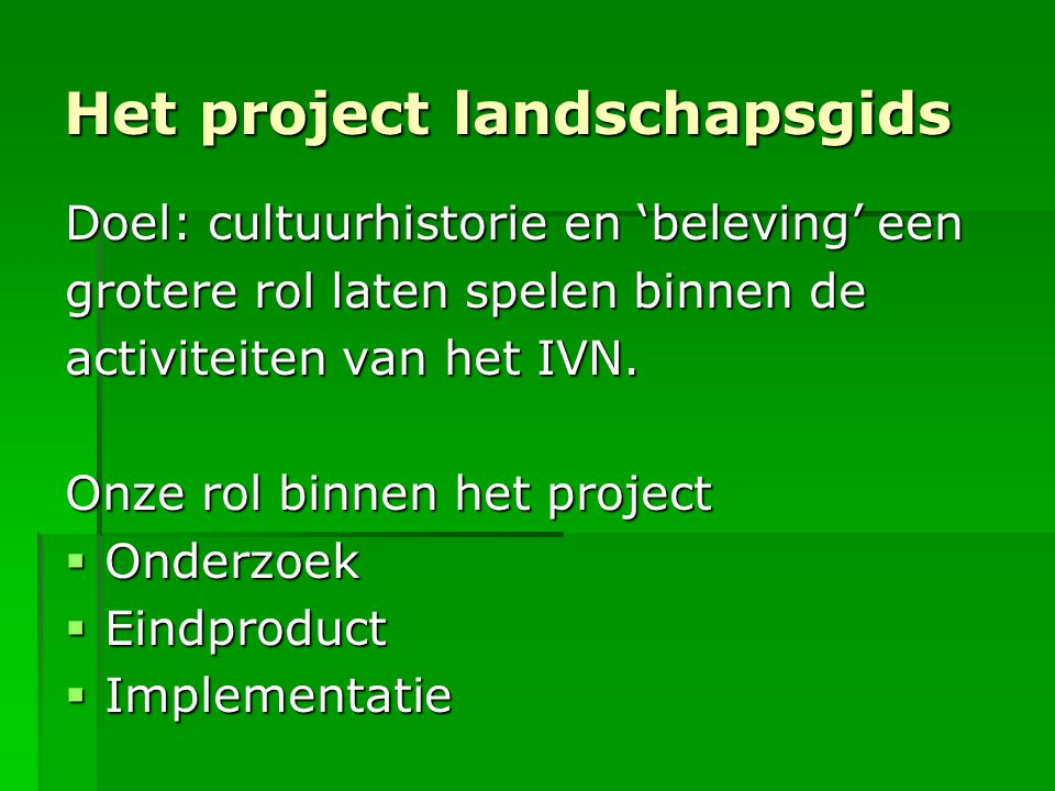 Het project landschapsgids