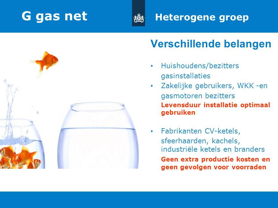 G gas net Verschillende belangen Heterogene groep