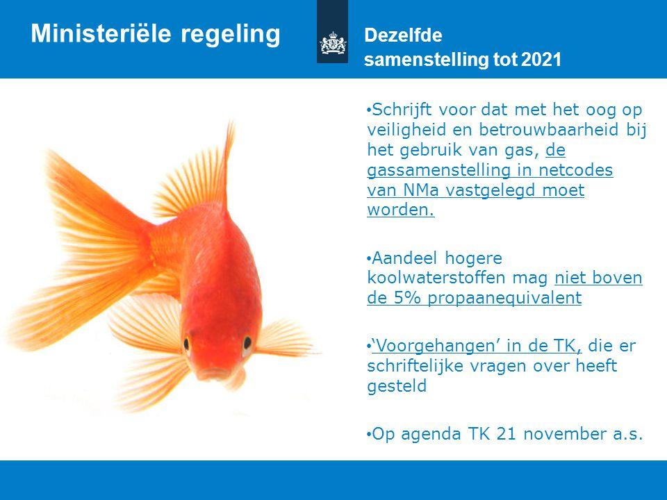 Ministeriële regeling Dezelfde samenstelling tot 2021